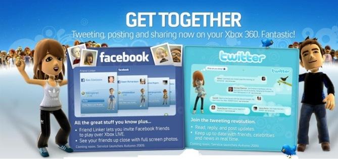Twitter y Facebook en Xbox 360